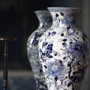 Vase Gien pivoines bleues